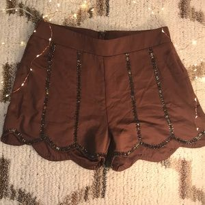 Moon Collection Scalloped Brown Shorts
